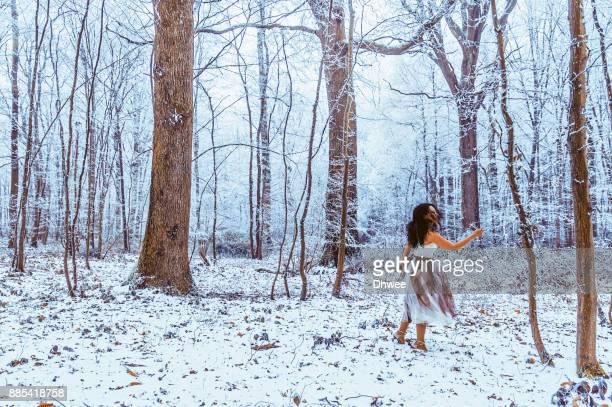 Woman In Winter Wonderland Forest