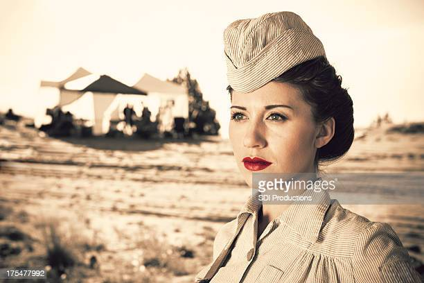 Woman in World War 2 military outfit
