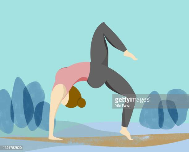 woman in yoga pose outdoors - illustration stock pictures, royalty-free photos & images