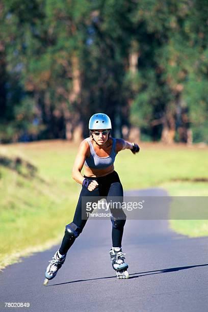 Woman inline skating