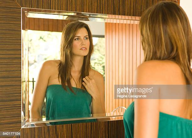 Woman Inspecting Reflection