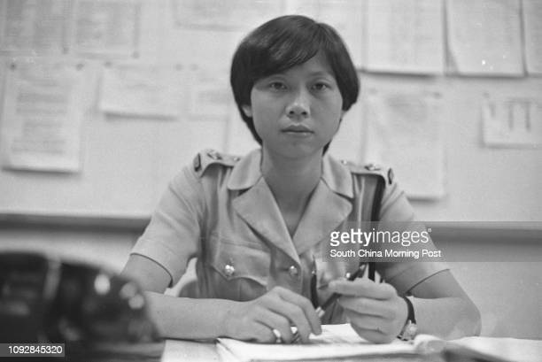 Woman inspector Julia To Yuenha interview at Yau Ma Tai police station