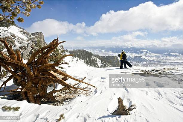 a woman inspects her line before she straps in and snowboards to the bottom. - jackson hole stock pictures, royalty-free photos & images