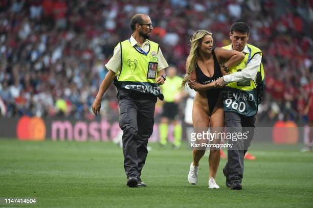 Woman invades to the pitch during the UEFA Champions League Final between Tottenham Hotspur and Liverpool at Estadio Wanda Metropolitano on June 1,...