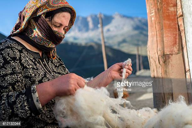 A woman is cleaning and scratching wool in her yard in Khinalig village Quba region Azerbaijan The main business in Khinalig is sheep farming The...