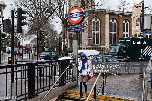 A woman is getting in Bethnal Green tube station in Bethnal Green East London