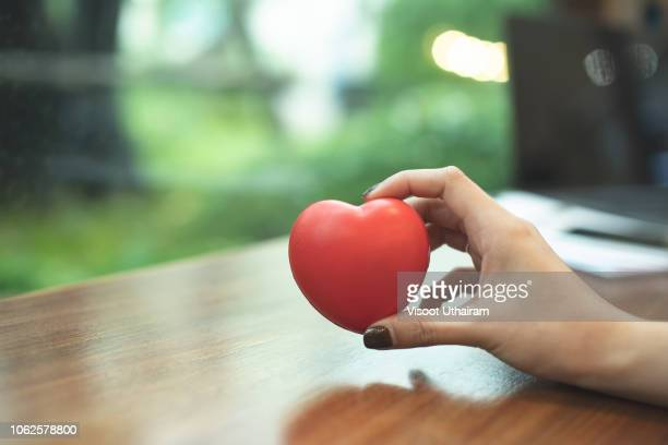 woman is holding a red heart to giving someone - sincerely yours ストックフォトと画像