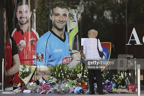A woman is seen lying flowers amongst other tributes next to a photograph of Phil Hughes outside the Adelaide Oval on November 28 2014 in Adelaide...