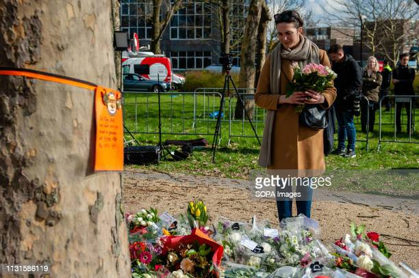 OKTOBERPLEIN 24 UTRECHT UTRECHT NETHERLANDS A woman is seen paying attribute at the memorial site while is holding a bouquet of flowers The day after...