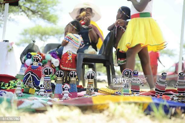 A woman is selling traditional beaded items during the 36th annual commemoration of King Silamba on March 05 2016 in Pretoria South Africa King...