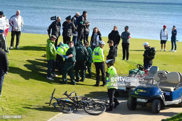 Woman is treated on the sidelines after being struck by Tyrell