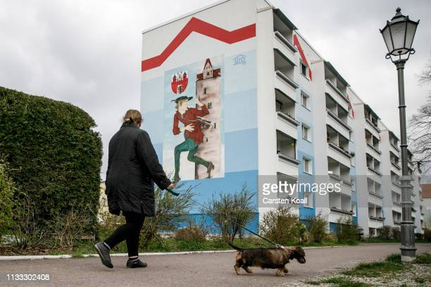 A woman is walking with a dog in a residential area on March 28 2019 in Bernburg Germany Many mediumsized towns in eastern Germany have seen a steady...