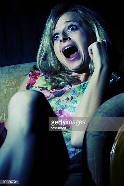Woman is wathcing tv