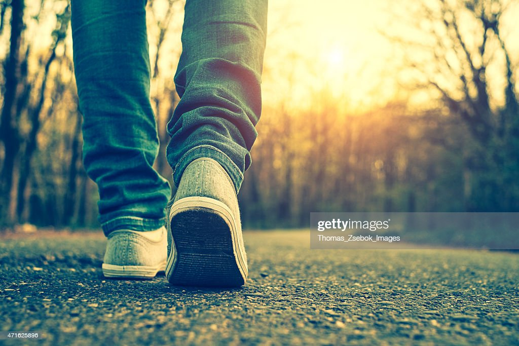 Woman jeans and sneaker shoes : Stock Photo