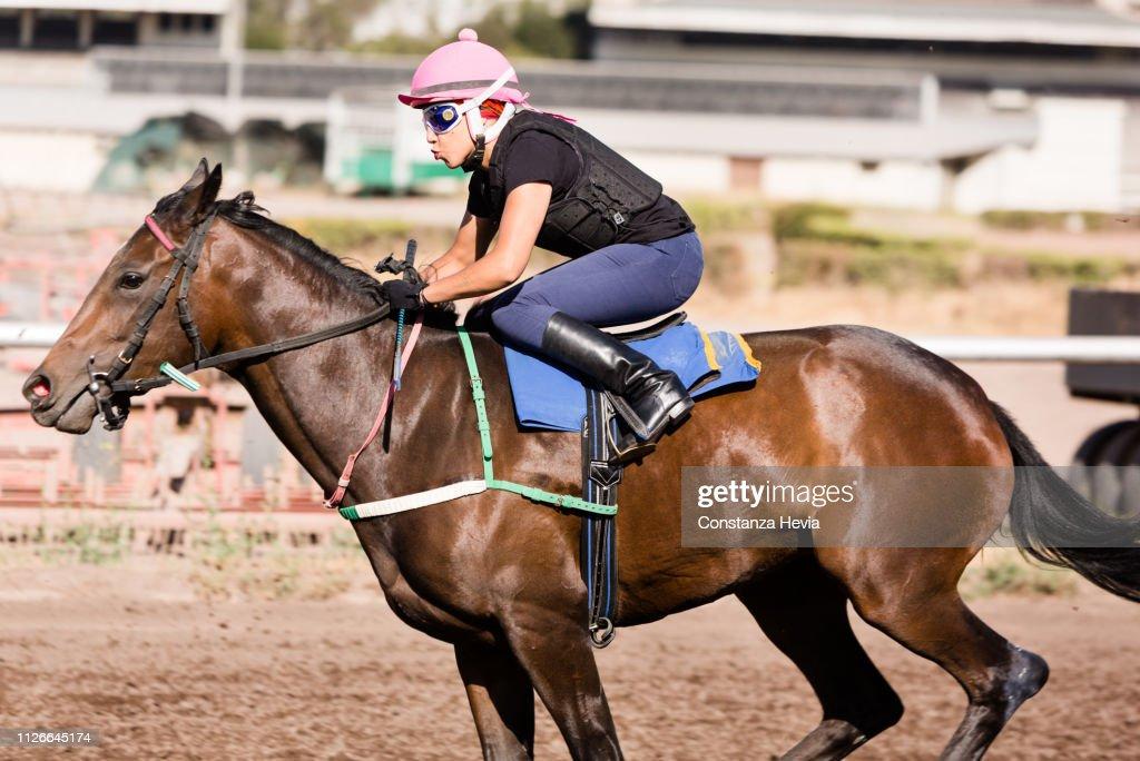 Woman Jockey riding a horse