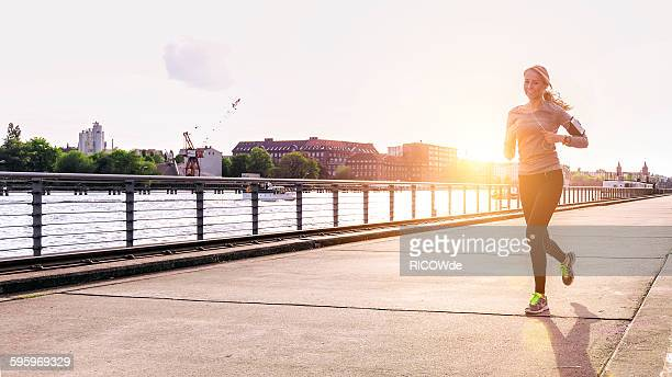 Woman jogging in Berlin city