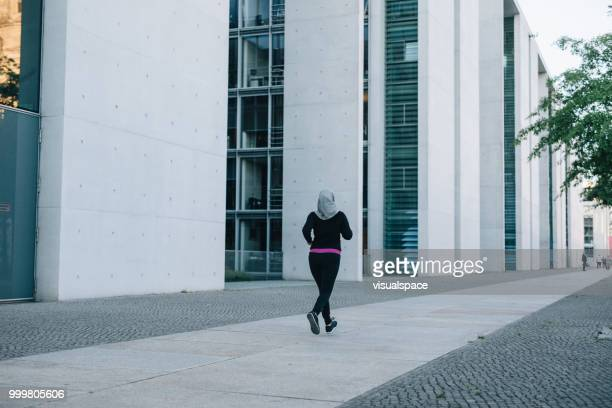 Woman jogging in the city.