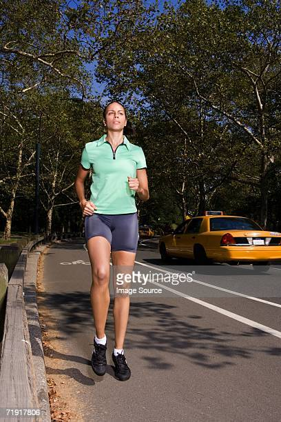 Woman jogging on the road