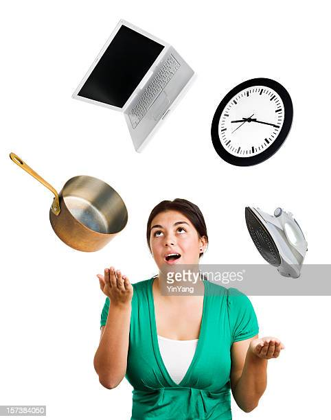 Woman Juggling Emotional Stress, Balancing Life, Multi-tasking Time, Job, Housework