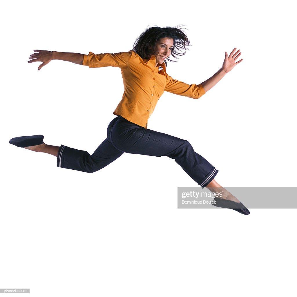 Woman jumping : Stockfoto