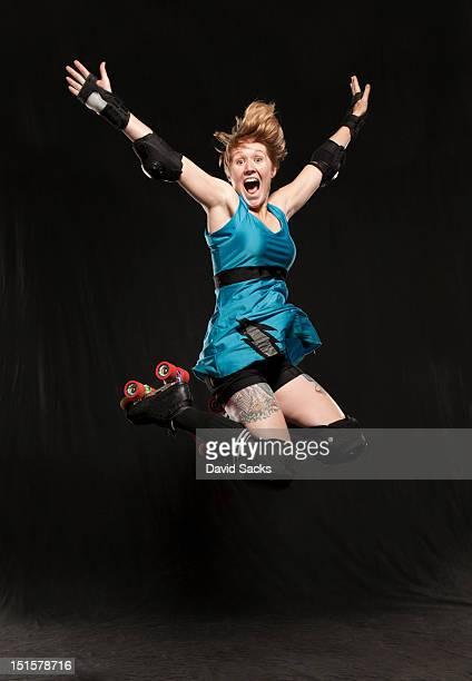 Woman jumping portrait