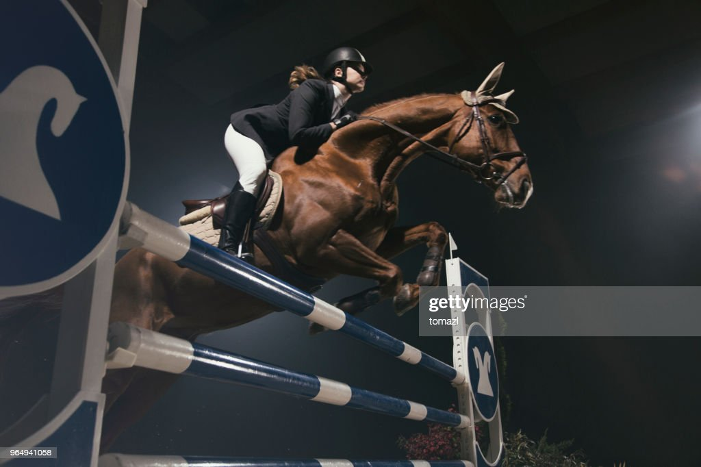 Vrouw met paard springen over de horde : Stockfoto