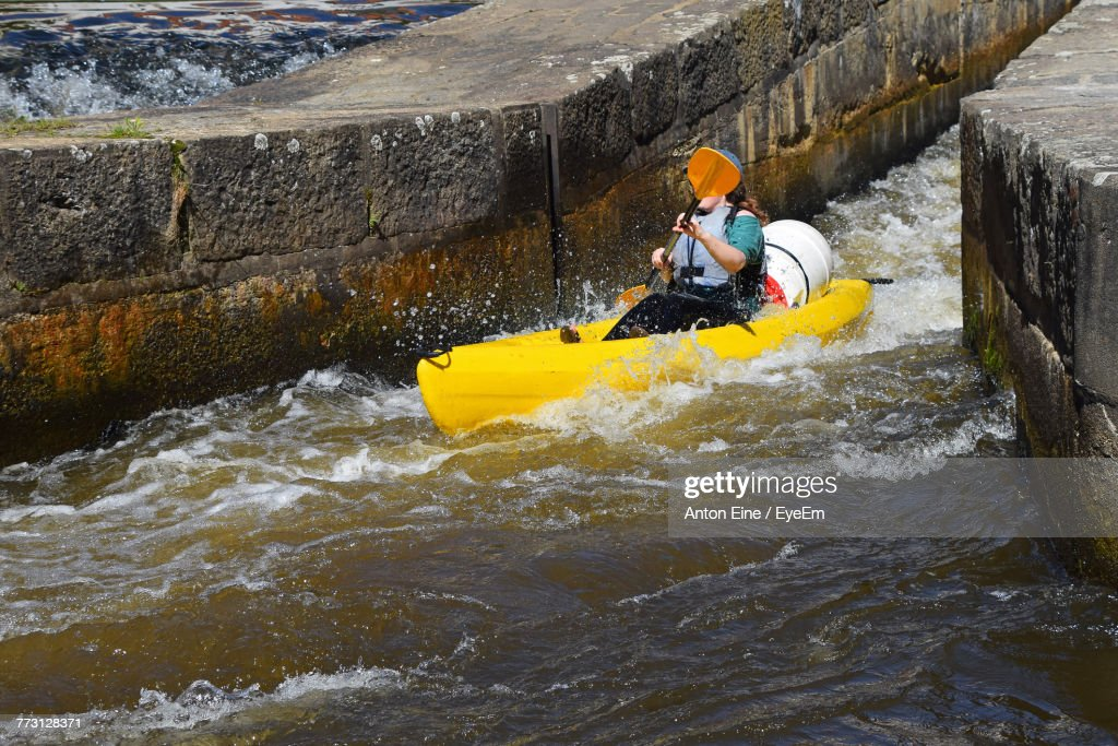Woman Kayak In Canal : Stock Photo