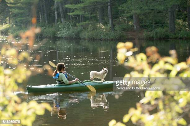 woman kayaking with her dog - reservoir stock pictures, royalty-free photos & images
