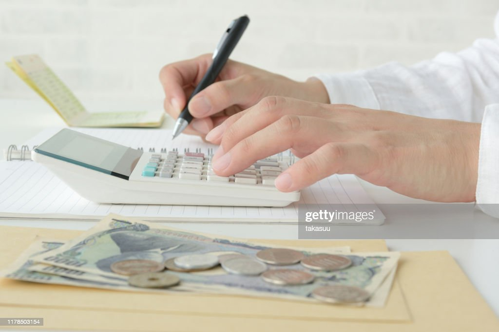 Woman keeping household account book : Stock Photo