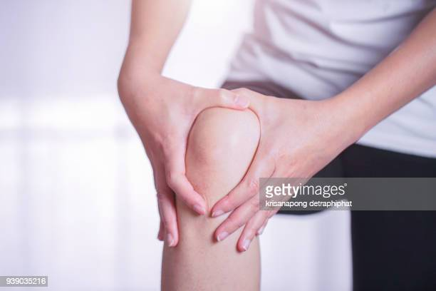 woman knee pain,knee ache - osteoarthritis stock photos and pictures