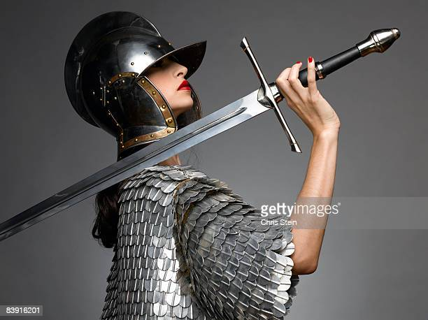 woman knight with sword - traditional armor stock pictures, royalty-free photos & images