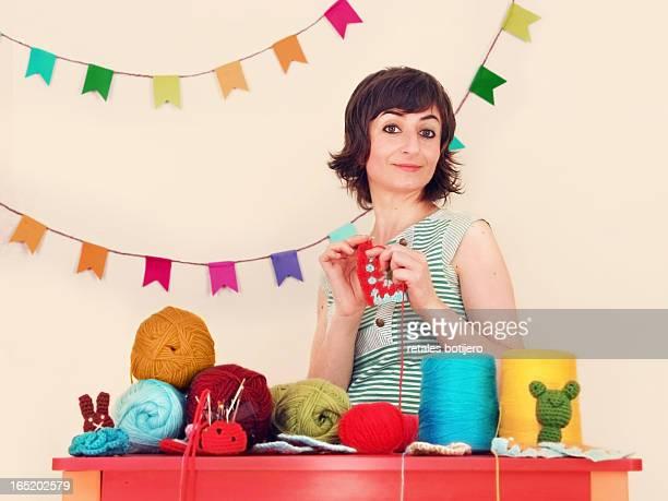 woman knitting crochet