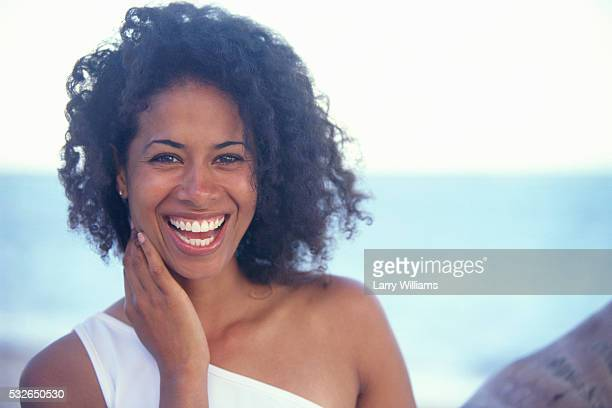 woman laughing - dominican ethnicity stock photos and pictures