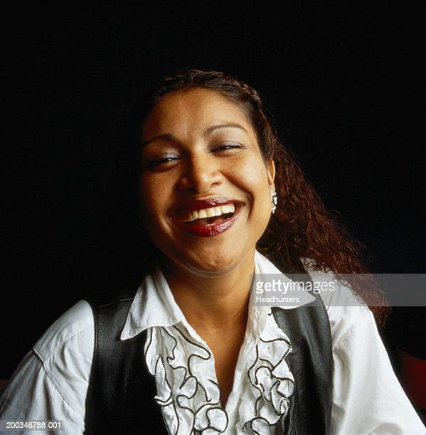 woman laughing, portrait - headhunters stock pictures, royalty-free photos & images