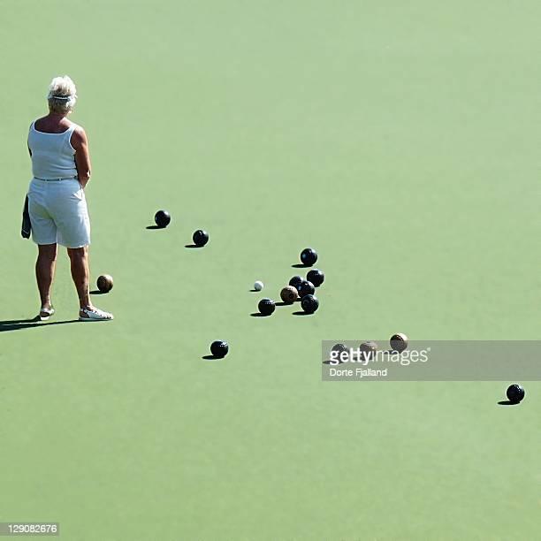 Woman lawn bowling