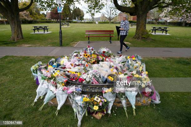 Woman lays a floral tribute for murdered PCSO Julia James on May 2, 2021 in Aylesham, England.The body of PCSO Julia James was discovered in the...