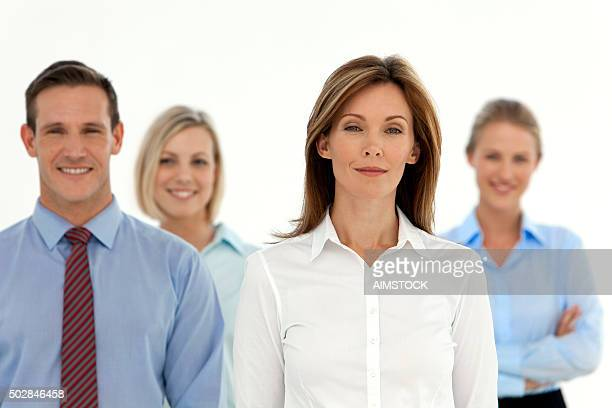 Woman leading a business partners team