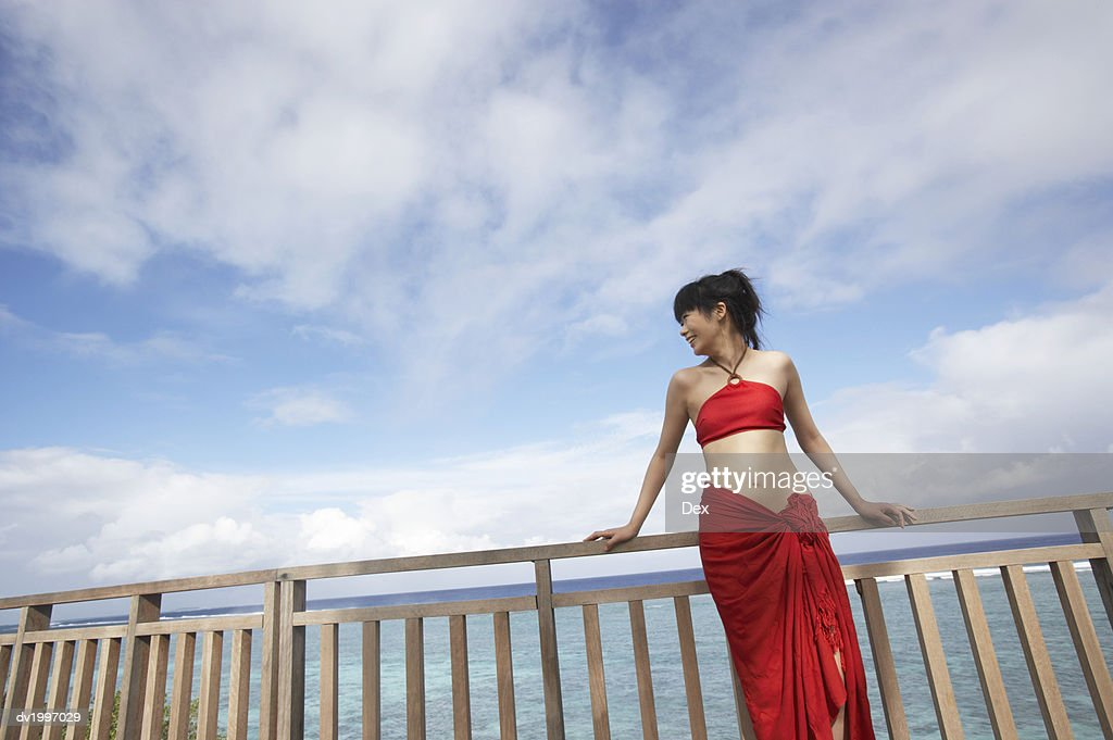 Woman Leaning Against a Fence with the Sea in the Background : Stock Photo