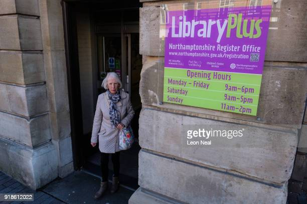 A woman leaves the central library in the town centre on February 15 2018 in Northampton United Kingdom Northamptonshire County Council has banned...