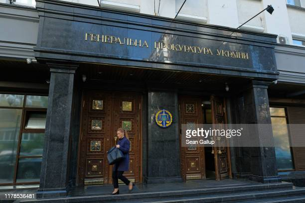 Woman leaves the offices of the Ukrainian General Prosecutor on October 02, 2019 in Kiev, Ukraine. Ukraine has found itself at the core of a...