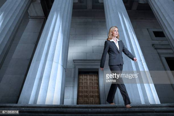 Woman Leaving The Courthouse