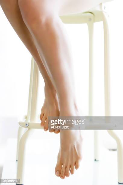 woman legs, close up - japanese women feet stock photos and pictures
