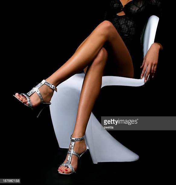 woman legs - beautiful legs in high heels stock photos and pictures