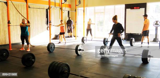 Woman lifting free weights in gym with personal trainer.
