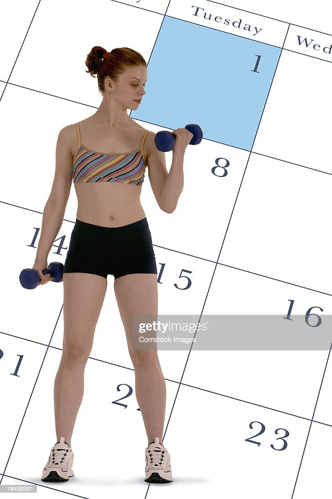 Woman lifting weights montage : Foto de stock