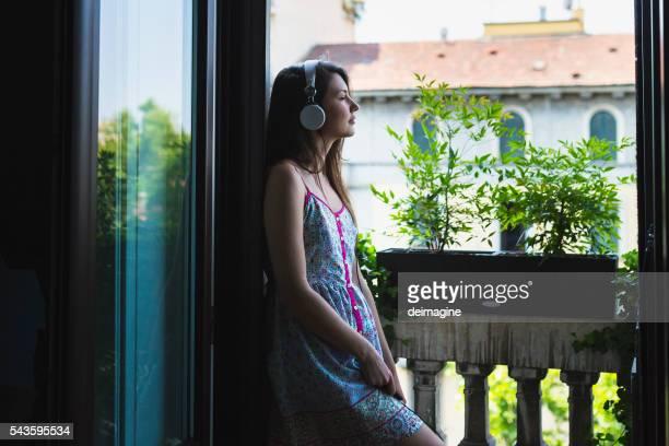 Woman listen to audiobook