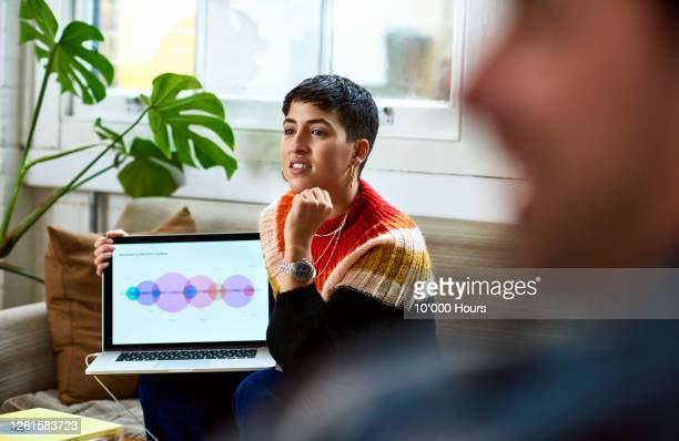 woman listening to colleagues in project meeting - publicity event stock pictures, royalty-free photos & images