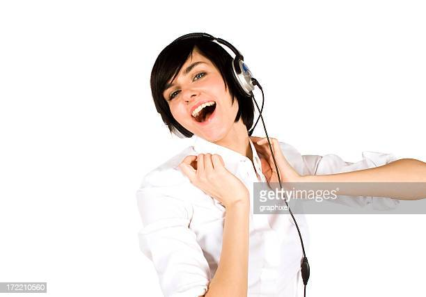woman listening to music - graphixel stock pictures, royalty-free photos & images