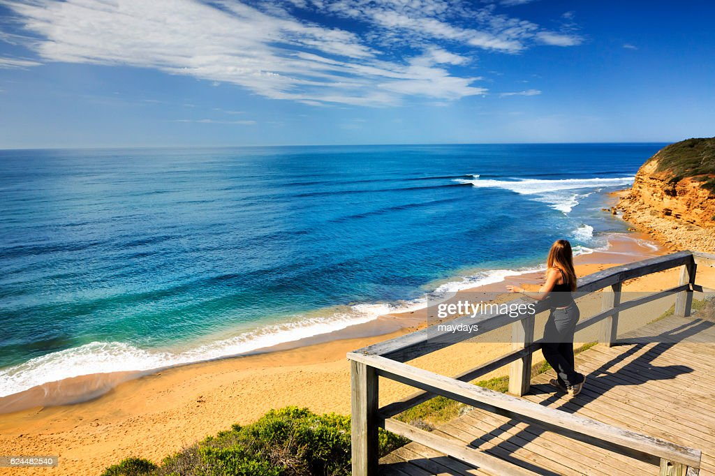 A Woman Look At Ocean Bells Beach Near Torquay Victoria Australia South