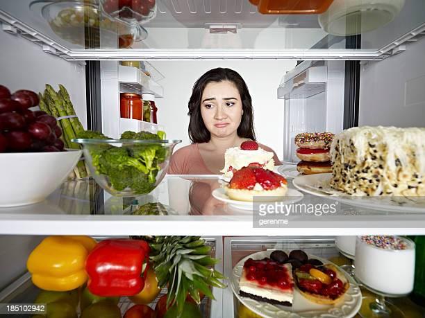 Frau einem Brokkoli